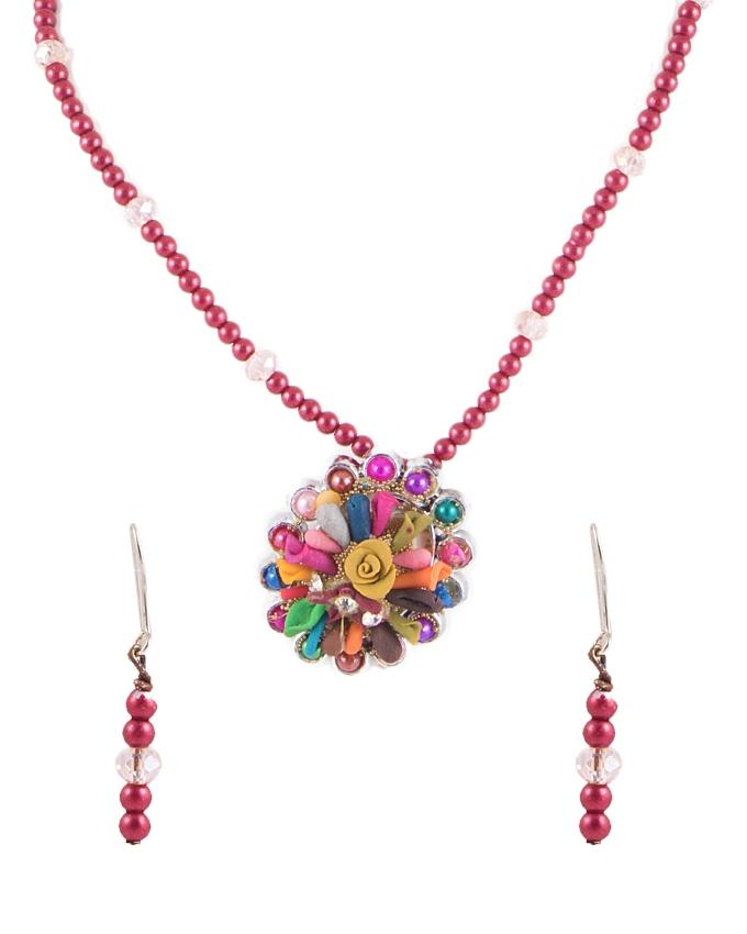 Multi Color Metal Hand Made Necklace & Earring Set for Women - RIZ-NKS-49