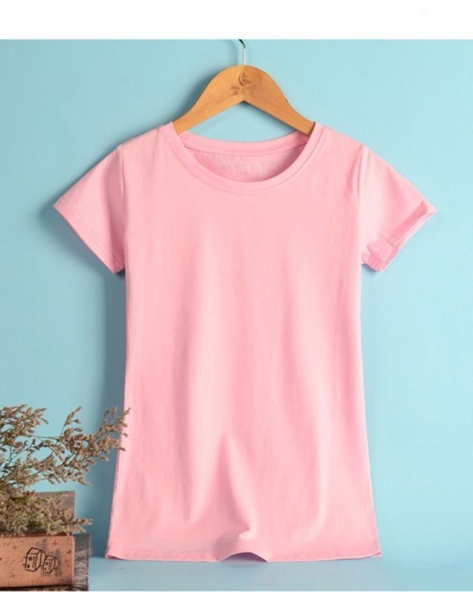 Jack Beos Pink Cotton Plain Tshirt For Women