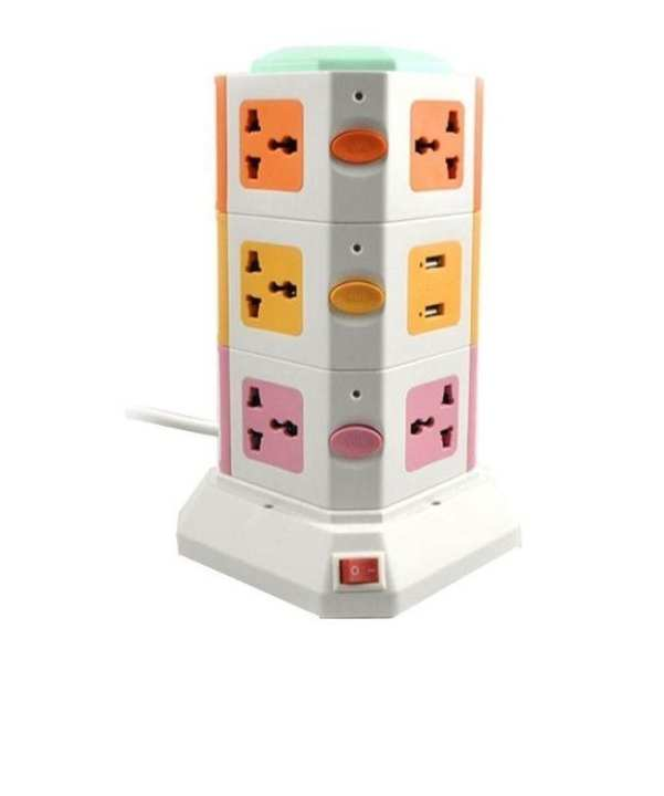 Vertical Secure Power Sockets with USB Port - Multicolor
