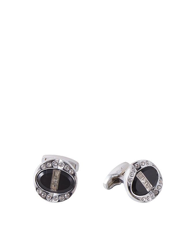Black Silver Rhodium Cufflink