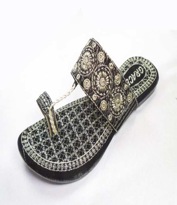 Black  Synthetic Fancy Slipper For Women - 250-50631