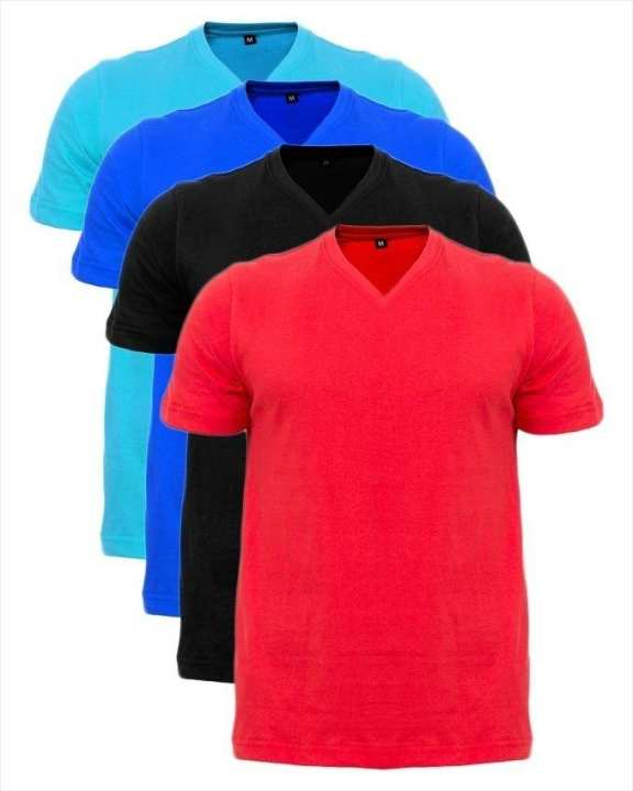 Pack Of 4 - Multicolor Cotton Half Sleeves V-Neck Plain T-Shirt for Men