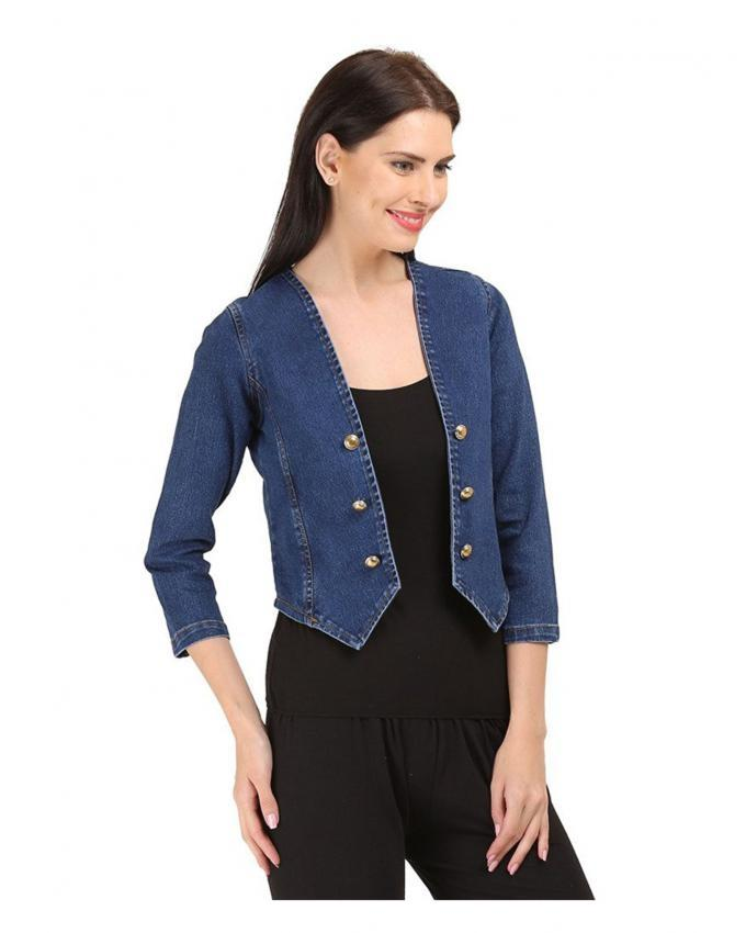 Dark Blue Denim Jeans Jacket For Women