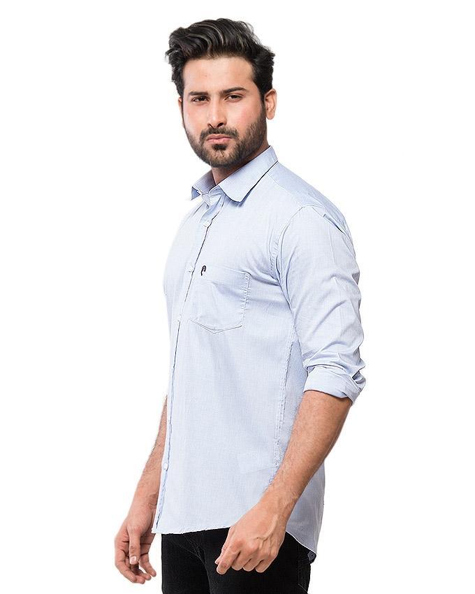 Blue Cotton Chambrey Shirt for Men - EPS13