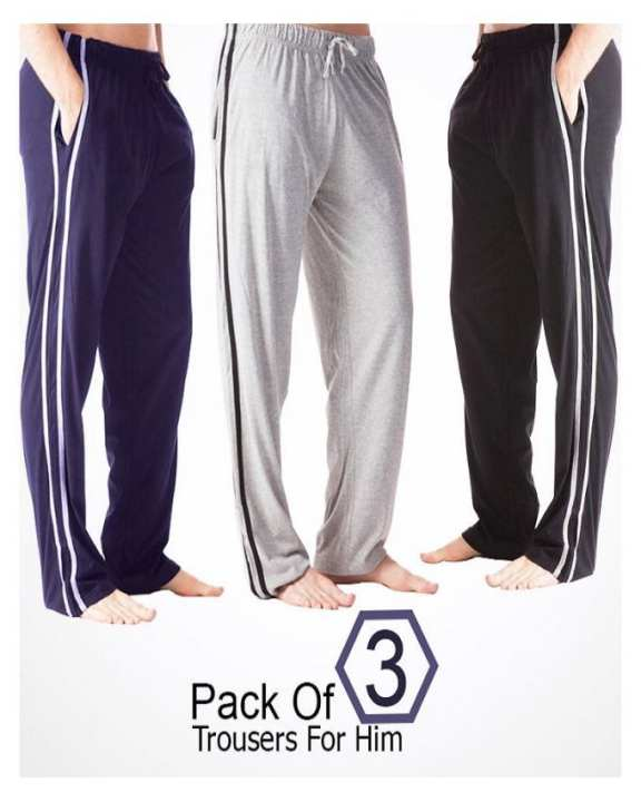Pack of 3 - Multicolor Cotton Jersey Loungepants for Men