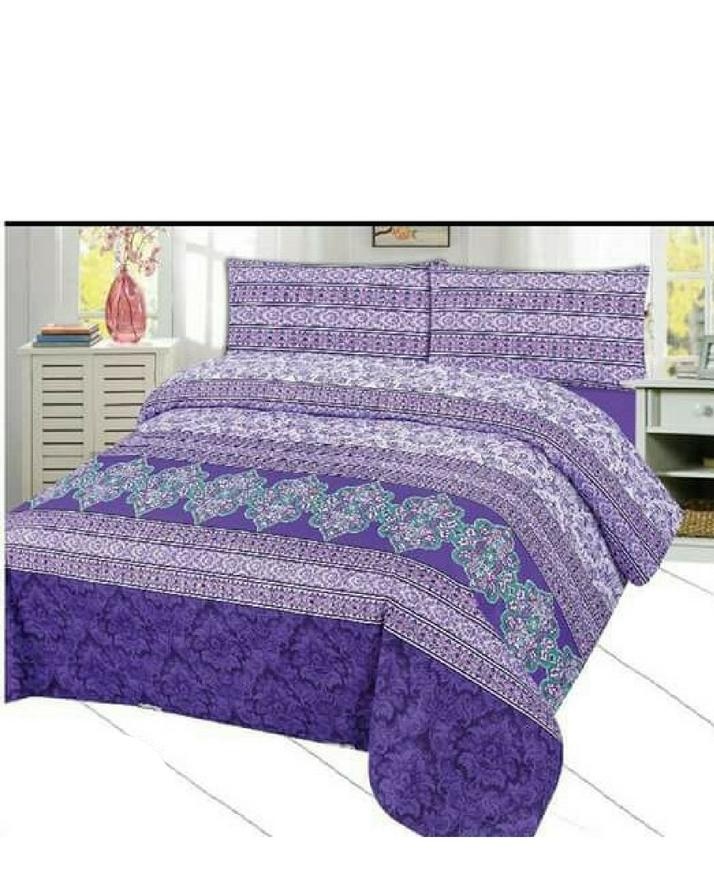King Size Double Bed Bedsheet With Pillow Covers Multicolour