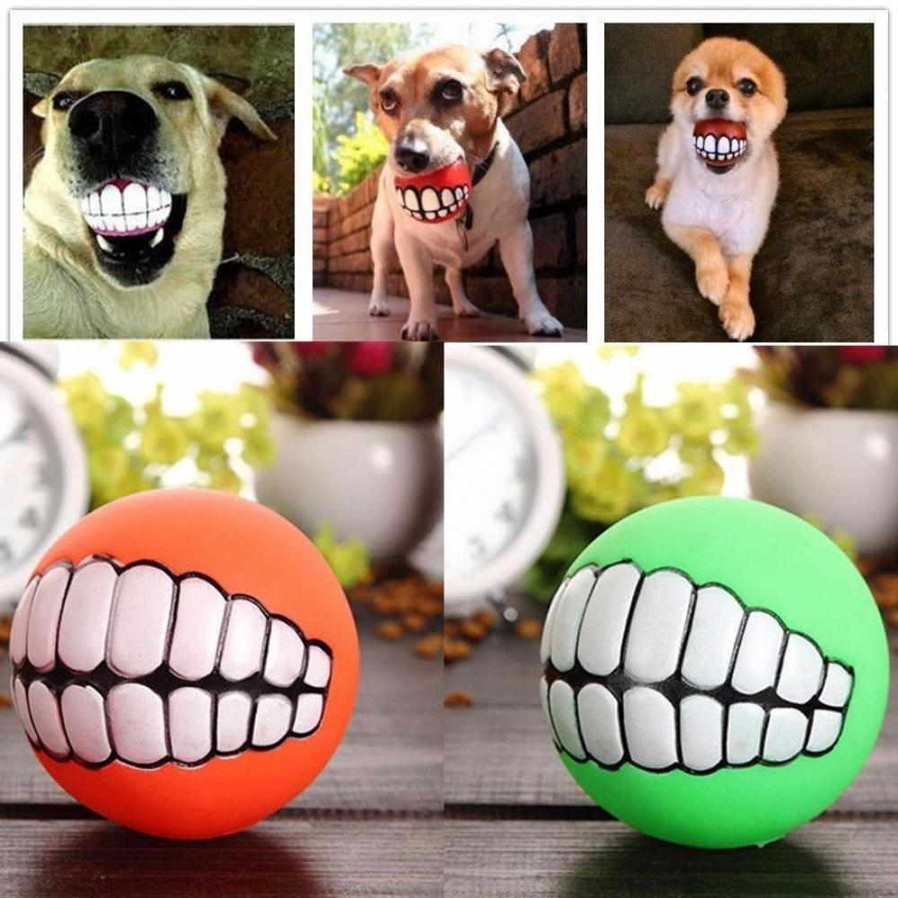 Funny Pet Dog Puppy Cat Ball Teeth Toy, Pvc Chew Sound Dog Play Fetching Squeak Toy, Pet Supplies Green