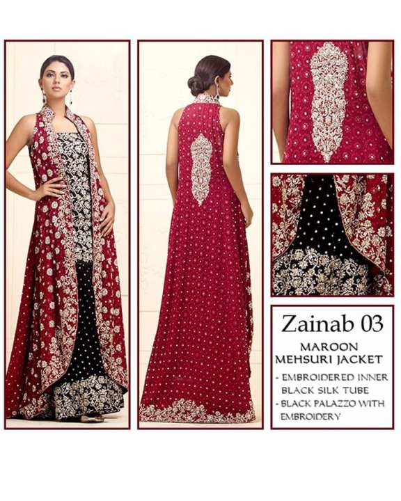 Mahroon & Black Chiffon Embroidered Suit For Women - 3 Piece - Zainab 03