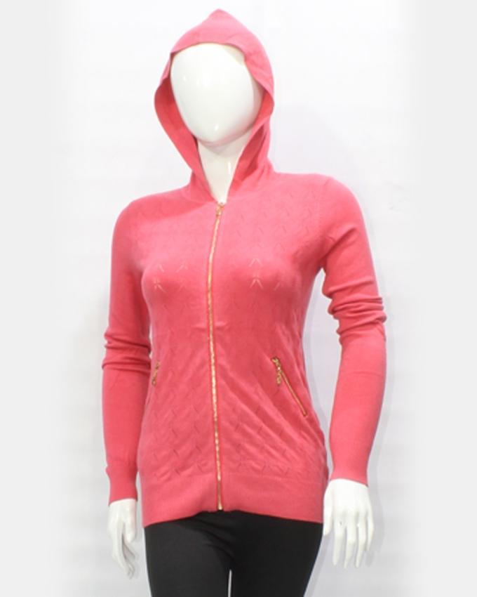 Pink Acrylic Hood Zip Sweater for Women
