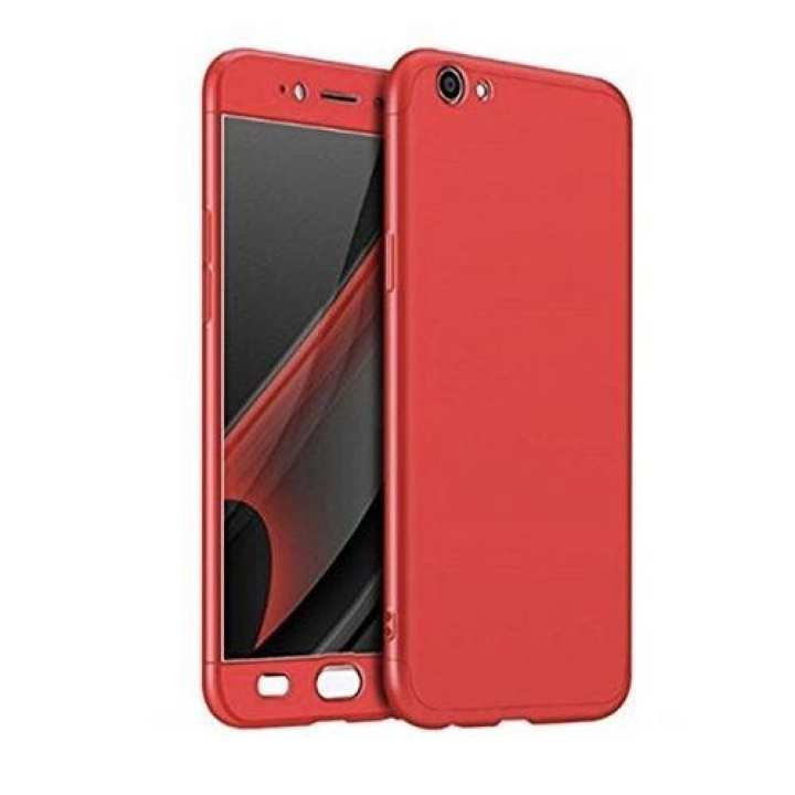 360 Degree Full Protection Case With Screen Protection For Vivo V7  With Glass - Red