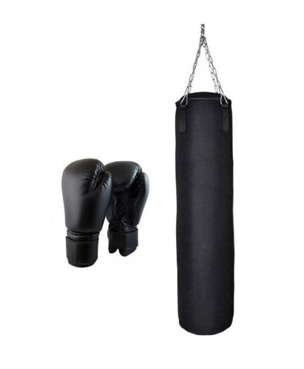 Boxing Bag 4ft With Gloves - Black