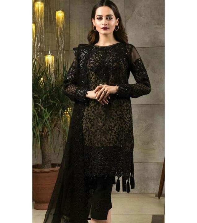 Serene Chiffon Embroidery Ladies Suit - Black