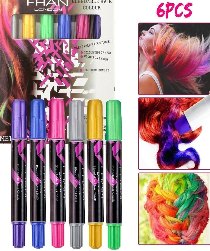 Pack Of 6 - Hair Chalks - Multicolor