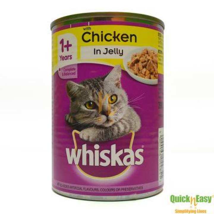 WHISKAS CAT FOOD CAN CHICKEN IN JELLY 390 GM (IMPORTED) PACK OF 12