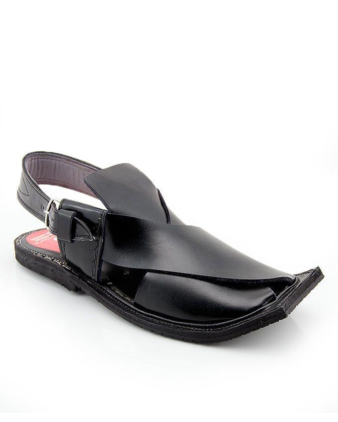 Black Leather Peshawari Sandals For Men