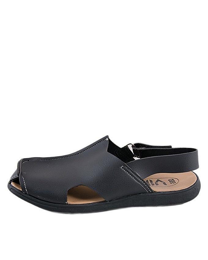 Black Rexine Casual Sandal for Men