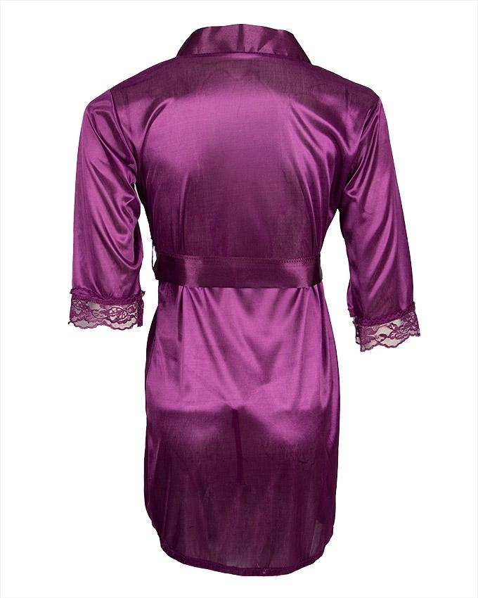 Purple Silk & Satin Night Gown for Women - Ubb074