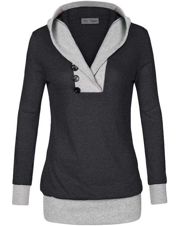Pime Womens Long Sleeve Hooded Casual Sweatshirt