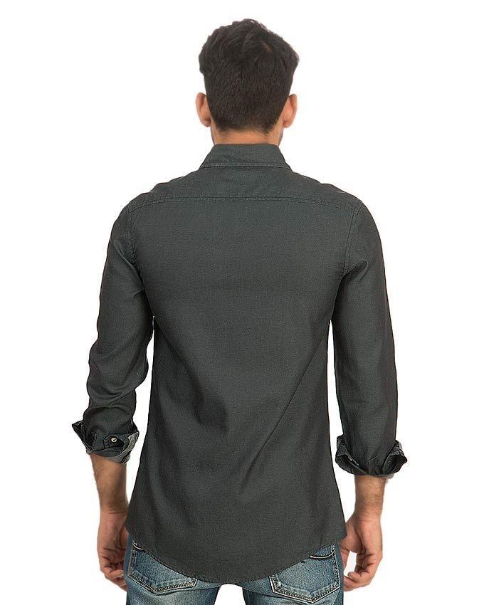 Dark Grey Denim Shirt for Men