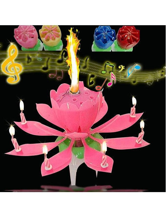 Product Details Of Musical Flower Rotating Birthday Lotus Candle