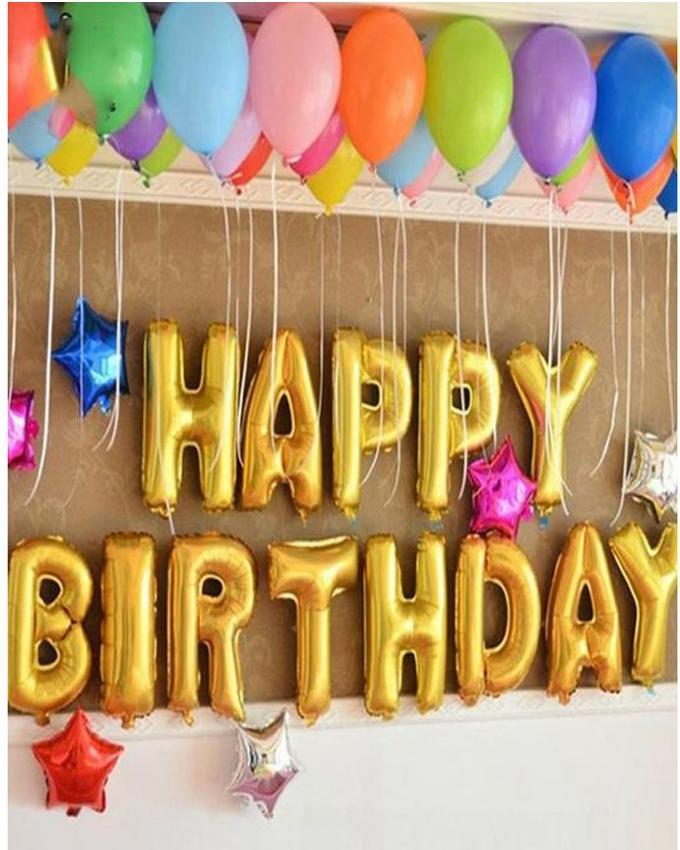 Kreations Happy Birthday Golden Foil Balloons