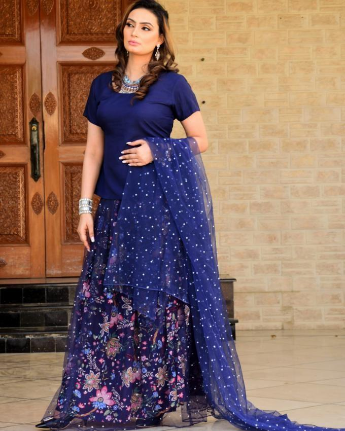 Navy Blue Cotton Tulle Skirt with a Crepe Blouse & Sequence Beaded Dopatta - 3 pcs Stitched