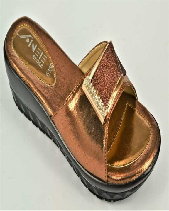 Brown Rexine And PU Sole Slippers for Women