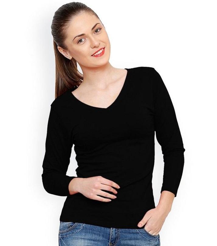 Black Cotton V-Neck Long Sleeve T-Shirt for Women