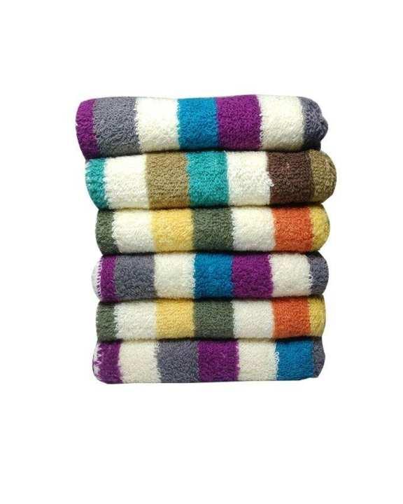 12 Pcs Strip Square Face Towels 30 x 30cm Multi Colours