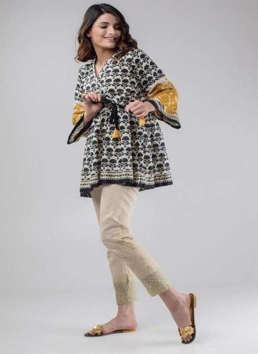 Multicolour Cotton Embroidered Kurti For Women