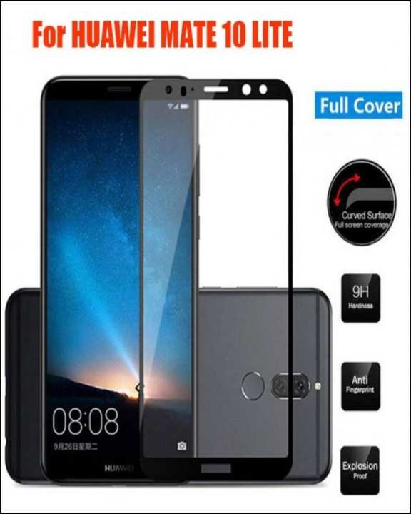 Mate 10 Lite 5D Tempered Glass Protector - Black