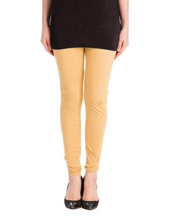 Skin Brown Cotton Churidaar Tights For Women