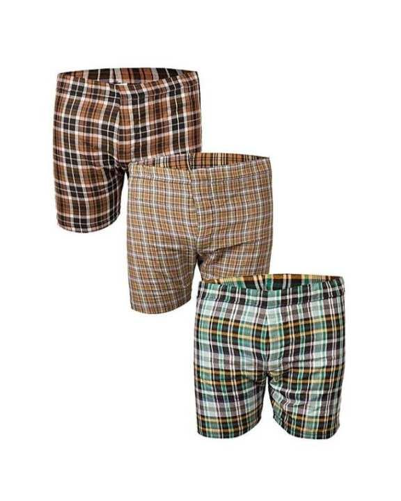 Basics Pack Of 3 Checkered Boxers For Men  Basics   Size