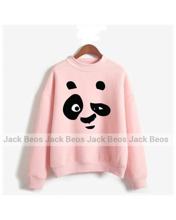 Kung Fu Panda Apron Fleece Baby Pink Sweatshirt For Unisex