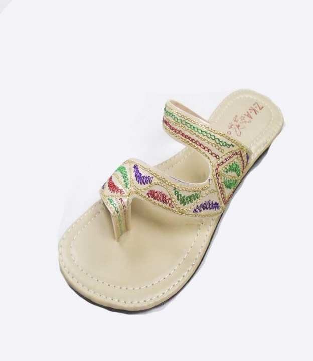 Cream Color Leather Colapuri Sleeper For Women -169-50636