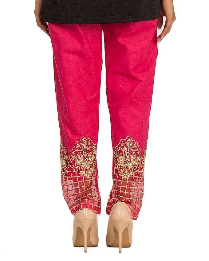 Pink Cotton Embroidered Pant For Women