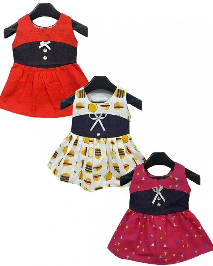 Pack Of 3 Cotton Random Printed Frocks For Girls ac5111dddc2a