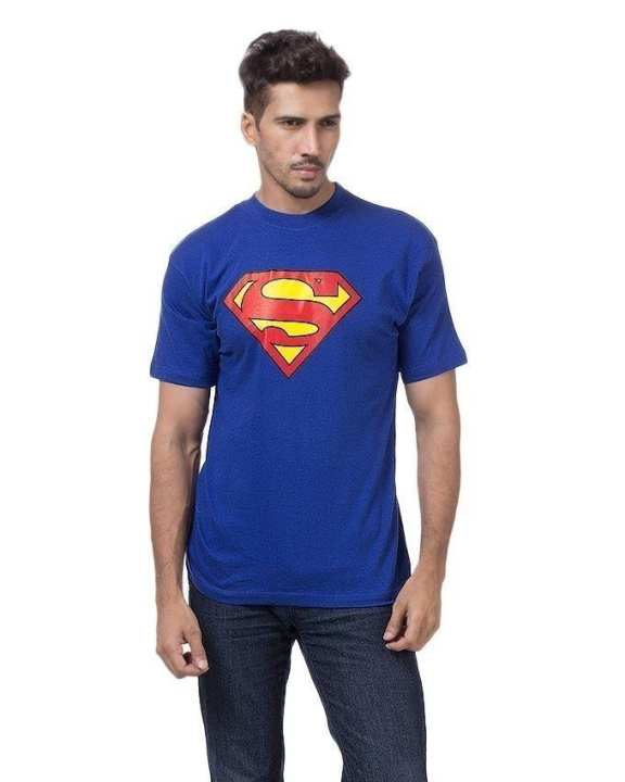 Blue Cotton Printed T-Shirt For Men