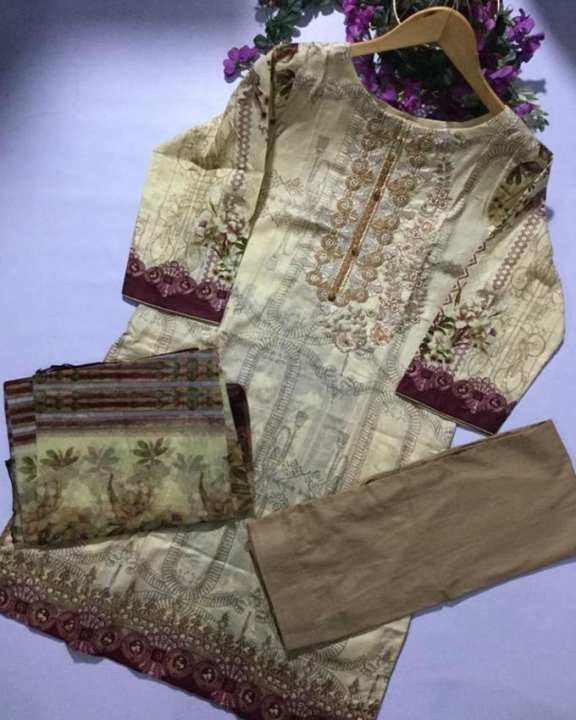 Cream Brown Printed & Embroidery Lawn Unstitched 3 Piece Suit