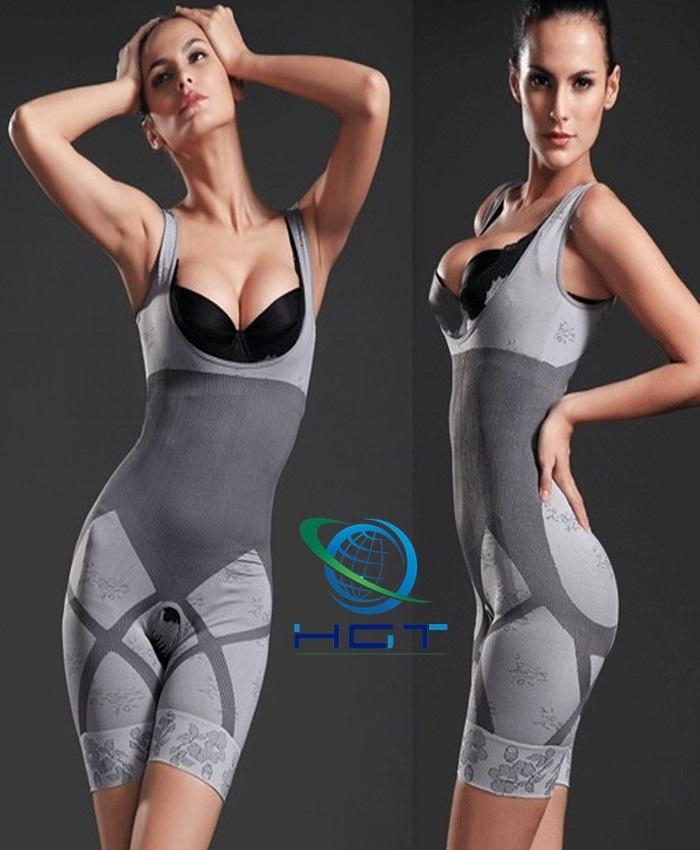 Grey Polyester Natural Bamboo Slimming Suit