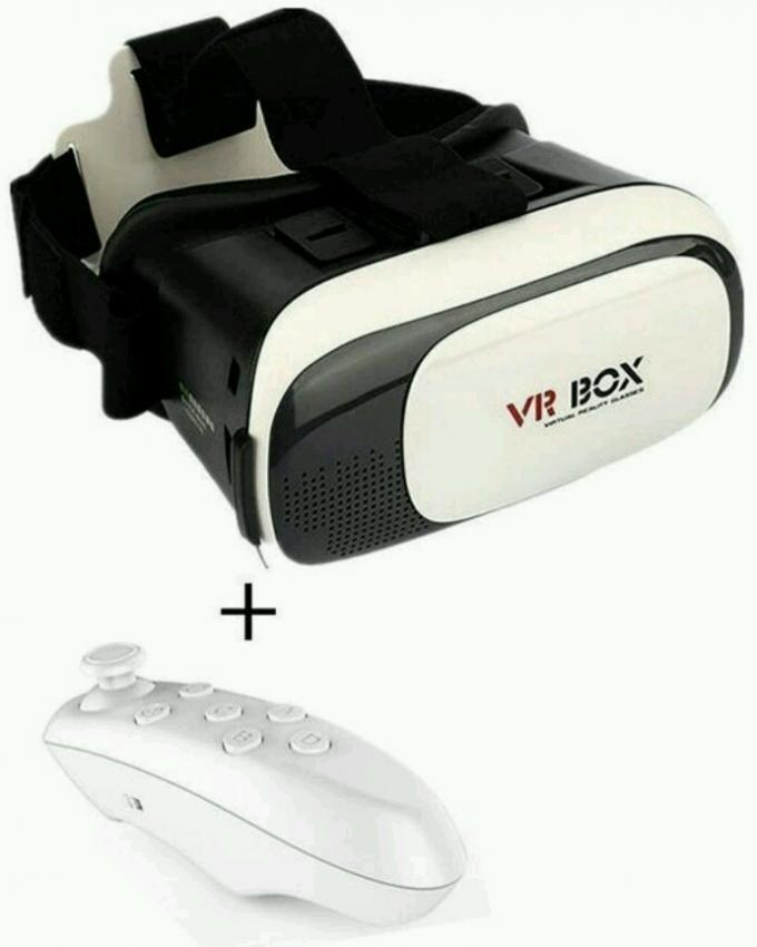 Pack of 02 - VR BOX 2 0 Virtual Reality 3D Glasses with Bluetooth Gamepad