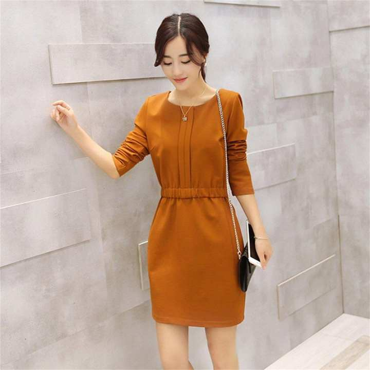 Autumn A-line Dress Loose Plus Size Long Sleeve Dress Fashion Korean Style
