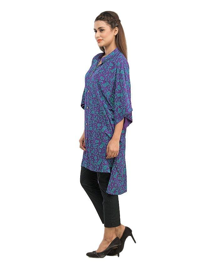 Purple Cotton Printed Poncho with Front Button for Women - 14144