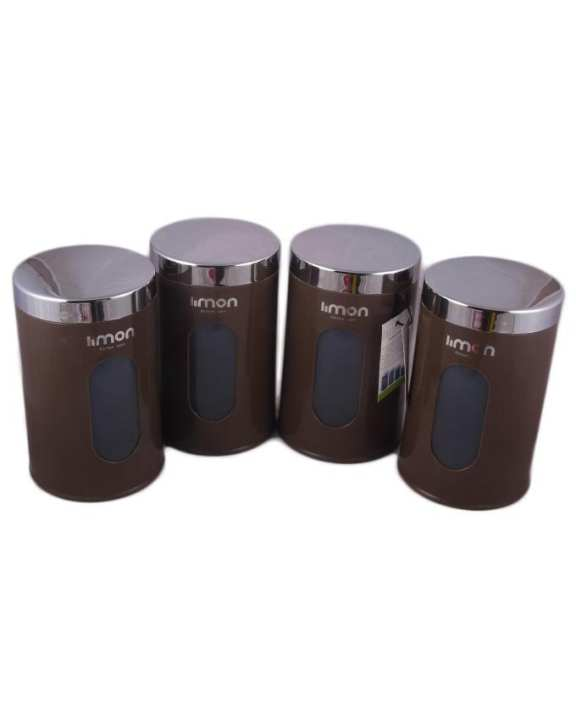 Pack of 4 - Premium Limon Storage Canister - 750 ml - Brown