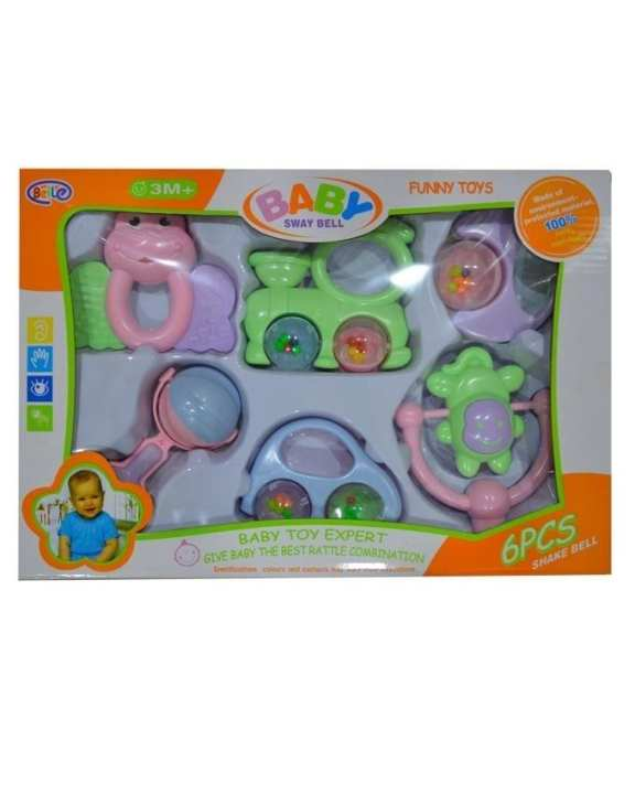Easy Life Baby Sway Bell Rattle Set - 6 pcs - Multi Color