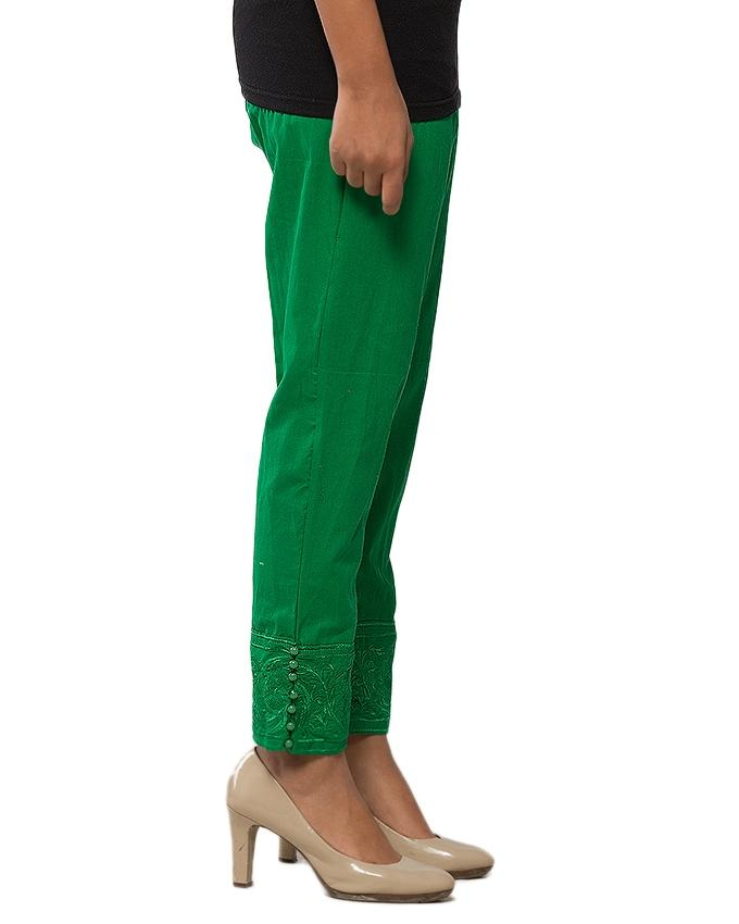 Green Cotton Embroidered Cigarette Pant for Women