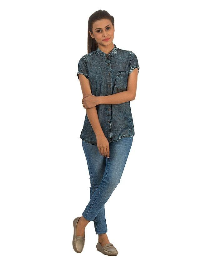 Blue Denim Random Wash Shirt with Metal Buttons for Women - M-2546