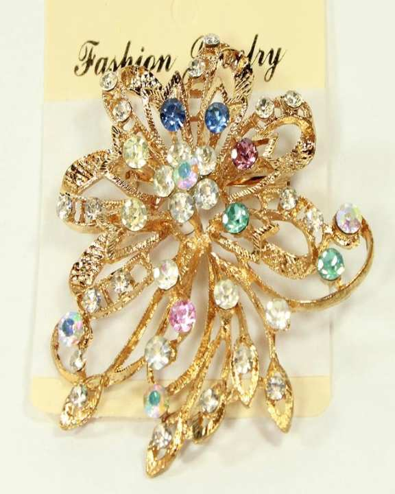 Golden Brooch With Multicolor Stones for Women