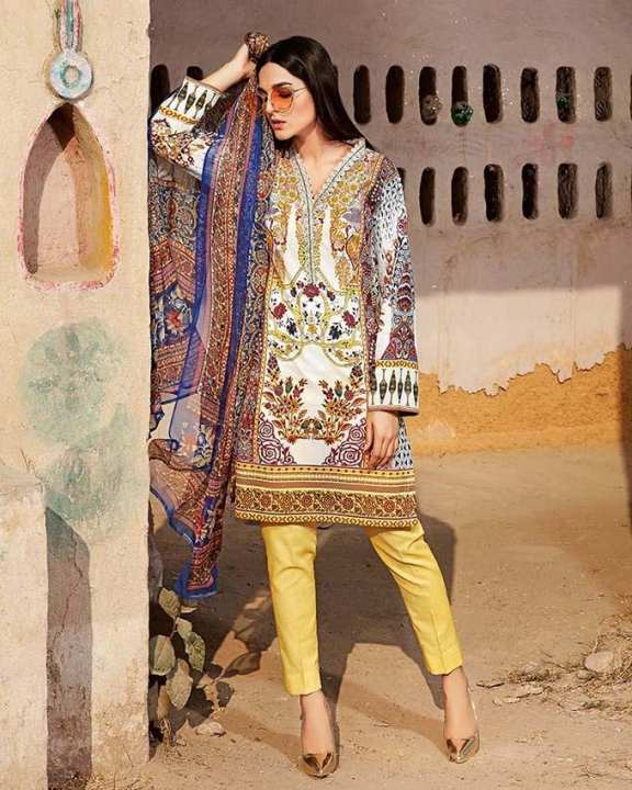 Gul Ahmed - Mustard Silk with Printed Shirt Embroidered Lace 3PC-Unstitched -  AS-12-158502