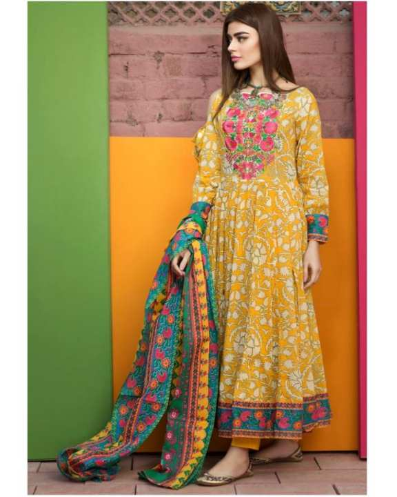 Yellow Floret Embroidery Lawn Unstitched Suit For Women - 3 Piece